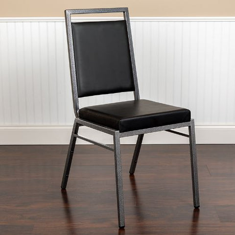 Flash Furniture HERCULES Series Square Back Stacking Banquet Chair in Black Vinyl with Silvervein Frame FDLUXSILBKVGG ; Image 2 ; UPC 889142671367
