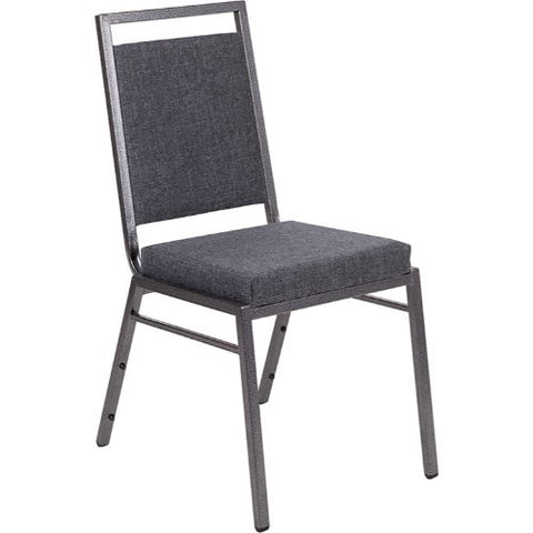 Flash Furniture HERCULES Series Square Back Stacking Banquet Chair in Dark Gray Fabric with Silvervein Frame FDLUXSILDKGYGG ; Image 1 ; UPC 889142560609