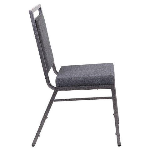 Flash Furniture HERCULES Series Square Back Stacking Banquet Chair in Dark Gray Fabric with Silvervein Frame FDLUXSILDKGYGG ; Image 3 ; UPC 889142560609
