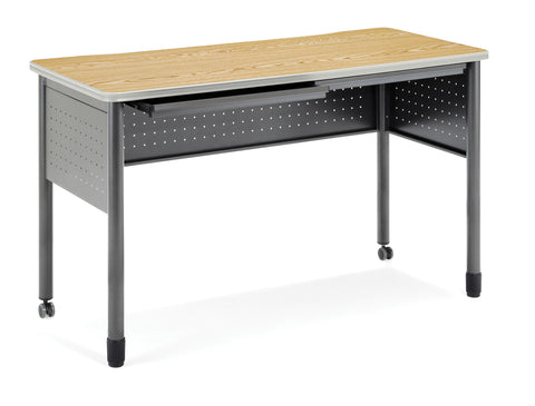 "OFM Mesa Series Model 66141 Standing Height Training Table and Desk with Drawers, 27.75"" X 55.25"", Oak ; UPC: 845123052860 ; Image 1"