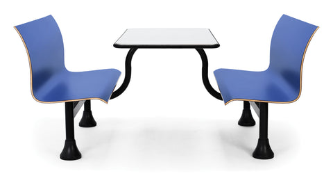 OFM 1007M-BLUE Retro Bench with Stainless Steel Table Top and Middle Frame ; UPC: 845123027813 ; Image 1