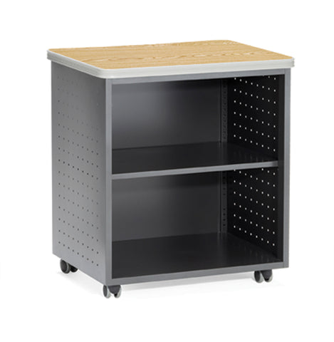 OFM Mesa Series Model 66745 Wheeled Mobile Utility Station with Shelf and Laminate Top, Oak ; UPC: 845123021835 ; Image 1