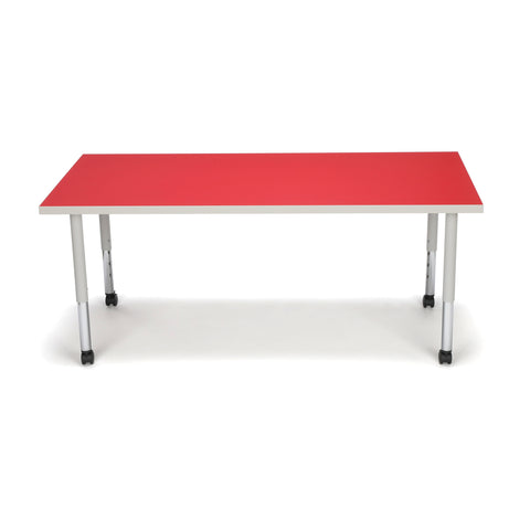 OFM Adapt Series Rectangle Student Table - 20-28? Height Adjustable Desk with Casters, Red (RECT-SLC) ; UPC: 845123096642 ; Image 2