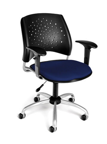 OFM Stars Swivel Chair with Arms, Navy ; UPC: 845123013069 ; Image 1
