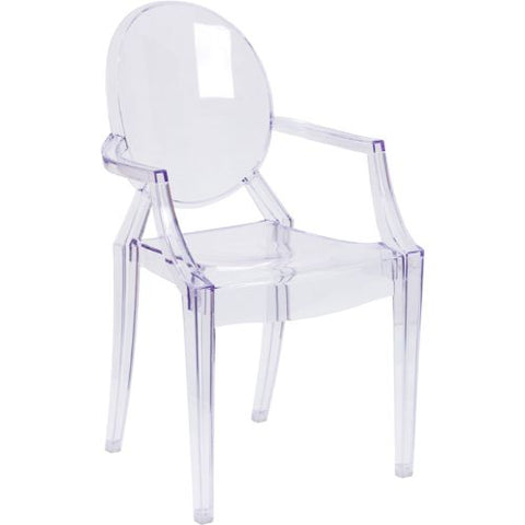 Flash Furniture Ghost Chair with Arms in Transparent Crystal FH124APCCLRGG ; Image 1 ; UPC 847254060523