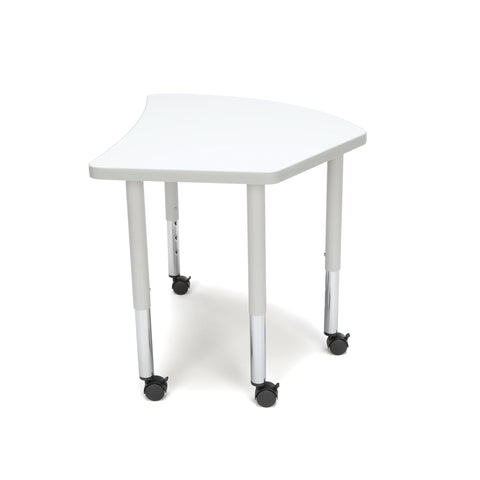 OFM Adapt Series Crescent Student Table - 20-28? Height Adjustable Desk with Casters, White (CREST-SLC) ; UPC: 845123096338 ; Image 5