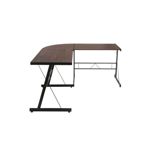 "OFM Essentials Collection 60"" Metal Frame L-Shaped Desk, Corner Computer Desk, in Wenge (ESS-1021 -BLK-WEN) ; UPC: 192767000086 ; Image 4"