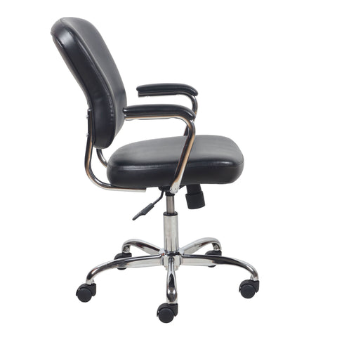 Essentials by OFM ESS-6080 Swivel Mid Back Bonded Leather Task Chair with Chrome Base, Black ; UPC: 089191014348 ; Image 4
