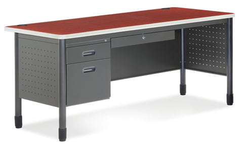 OFM Mesa Series Model 66366 3-Drawer Single Pedestal Steel Desk with Laminate Top, Cherry ; UPC: 845123009659 ; Image 1