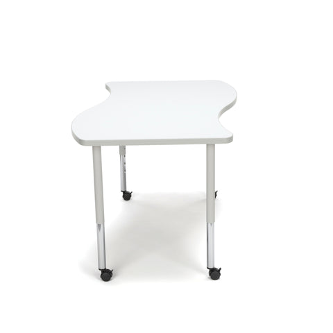 OFM Adapt Series Large Wave Standard Table - 25-33? Height Adjustable Desk with Casters, White (WAVE-L-LLC) ; UPC: 845123096178 ; Image 5