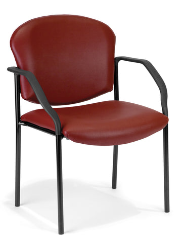 OFM Manor Series Model 404-VAM Guest and Reception Chair with Arms, Anti-Microbial/Anti-Bacterial Vinyl, Wine ; UPC: 811588014033 ; Image 1