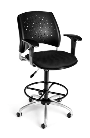 OFM Stars Series Model 326-AA3-DK Fabric Swivel Task Chair with Arms and Drafting Kit, Black ; UPC: 845123013366 ; Image 1