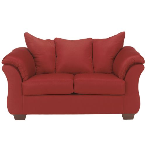 Flash Furniture Signature Design by Ashley Darcy Loveseat in Salsa Microfiber FSD1109LSREDGG ; Image 1 ; UPC 889142015772