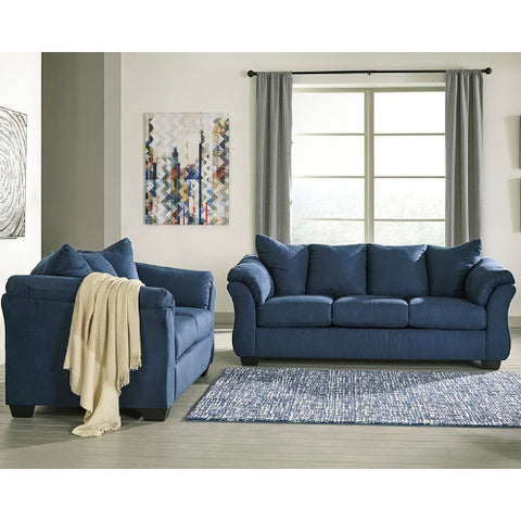 Flash Furniture Signature Design by Ashley Darcy Living Room Set in Blue Microfiber FSD1109SETBLUGG ; Image 1 ; UPC 889142224136