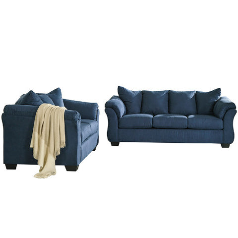 Flash Furniture Signature Design by Ashley Darcy Living Room Set in Blue Microfiber FSD1109SETBLUGG ; Image 2 ; UPC 889142224136