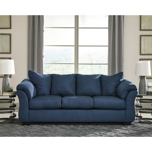 Flash Furniture Signature Design by Ashley Darcy Sofa in Blue Microfiber FSD1109SOBLUGG ; Image 1 ; UPC 889142224112
