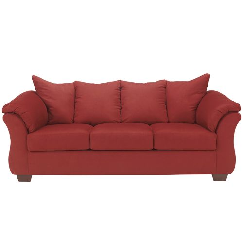 Flash Furniture Signature Design by Ashley Darcy Sofa in Salsa Microfiber FSD1109SOREDGG ; Image 1 ; UPC 889142015895