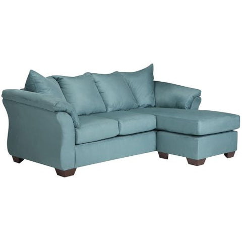 Flash Furniture Signature Design by Ashley Darcy Sofa Chaise in Sky Microfiber FSD1109SOFCHSKYGG ; Image 1 ; UPC 889142086376