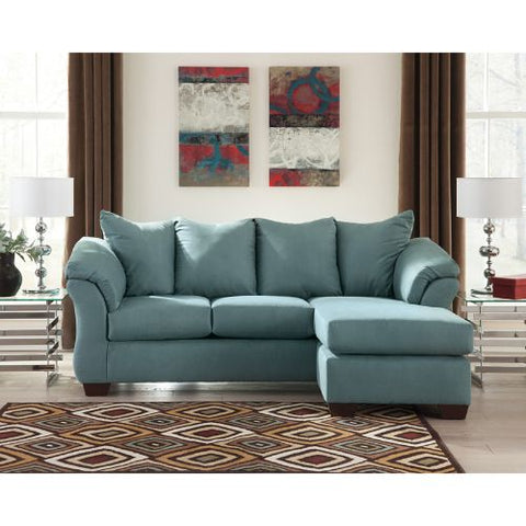 Flash Furniture Signature Design by Ashley Darcy Sofa Chaise in Sky Microfiber FSD1109SOFCHSKYGG ; Image 2 ; UPC 889142086376