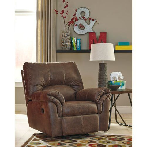 Flash Furniture Signature Design by Ashley Bladen Rocker Recliner in Coffee Faux Leather FSD1209RECCOFGG ; Image 2 ; UPC 889142085560