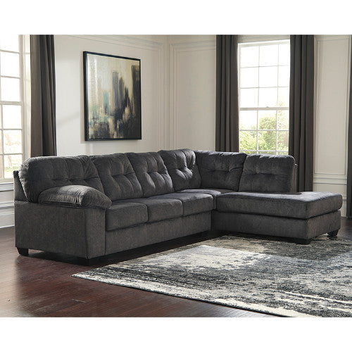 Flash Furniture Signature Design by Ashley Accrington 2-Piece Left Side Facing Sofa Sectional in Granite Microfiber FSD1339SEC2LAFSGRTGG ; Image 1 ; UPC 889142224266