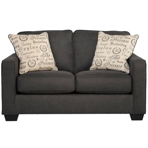 Flash Furniture Signature Design by Ashley Alenya Loveseat in Charcoal Microfiber FSD1669LSCHGG ; Image 1 ; UPC 889142085775