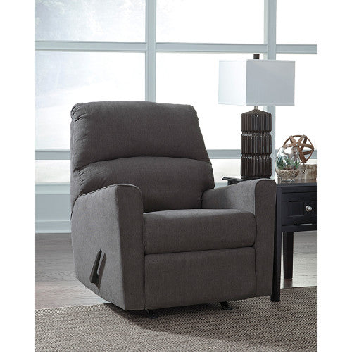 Flash Furniture Signature Design by Ashley Alenya Rocker Recliner in Charcoal Microfiber FSD1669RECCHGG ; Image 1 ; UPC 889142224297