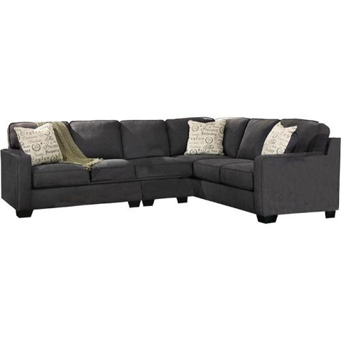 Flash Furniture Signature Design by Ashley Alenya 3-Piece Right Side Facing Sofa Sectional in Charcoal Microfiber FSD1669SEC3RAFSCHGG ; Image 3 ; UPC 889142085874
