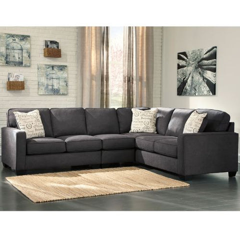 Flash Furniture Signature Design by Ashley Alenya 3-Piece Right Side Facing Sofa Sectional in Charcoal Microfiber FSD1669SEC3RAFSCHGG ; Image 2 ; UPC 889142085874
