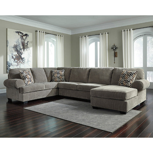 Flash Furniture Signature Design by Ashley Jinllingsly 3-Piece Left Side Facing Sofa Sectional in Gray Corduroy FSD1949SEC3LAFSGRYGG ; Image 1 ; UPC 889142224341