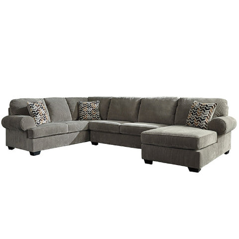 Flash Furniture Signature Design by Ashley Jinllingsly 3-Piece Left Side Facing Sofa Sectional in Gray Corduroy FSD1949SEC3LAFSGRYGG ; Image 2 ; UPC 889142224341