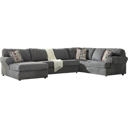 Flash Furniture Signature Design by Ashley Jayceon 3-Piece Right Side Facing Sofa Sectional in Steel Fabric FSD6499SEC3RAFSSTLGG ; Image 2 ; UPC 889142085997