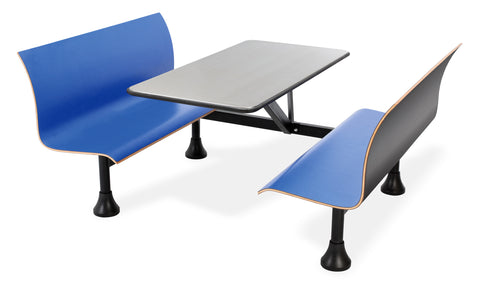 "OFM Model 1006W Retro Bench Table with End Support, 24"" Stainless Steel Top, Blue Seats ; UPC: 845123027776 ; Image 1"