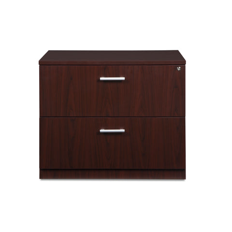 OFM Fulcrum Series Locking Lateral File Cabinet, 2-Drawer Filing Cabinet, Mahogany (CL-L36W-MHG) ; UPC: 845123097571 ; Image 2