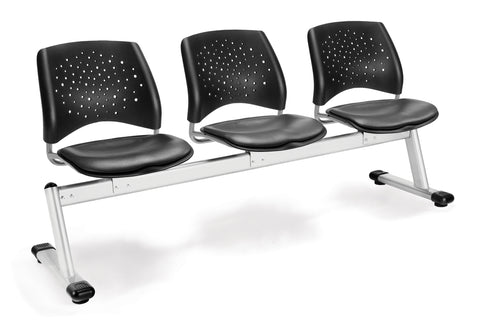 OFM 323-VAM-604 Stars 3-Unit Beam Seating with 3 Vinyl Seats ; UPC: 845123021316 ; Image 1