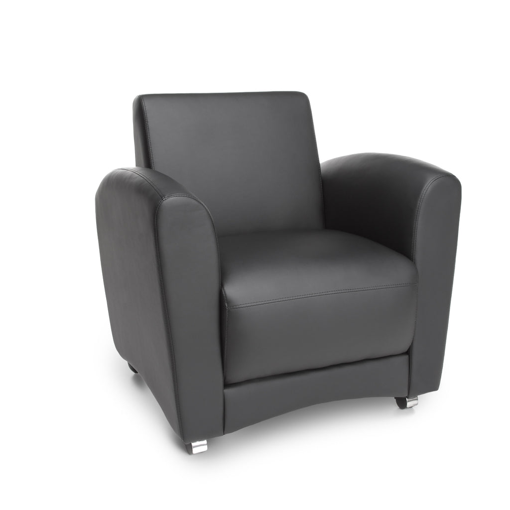 OFM InterPlay Series Upholstered Guest / Reception Chair, Black ; UPC: 845123040737 ; Image 1