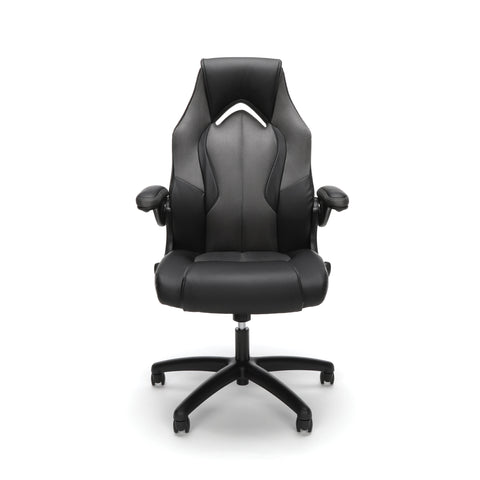 Essentials by OFM ESS-3086 High-Back Racing Style Bonded Leather Gaming Chair, Gray ; UPC: 192767001182 ; Image 2