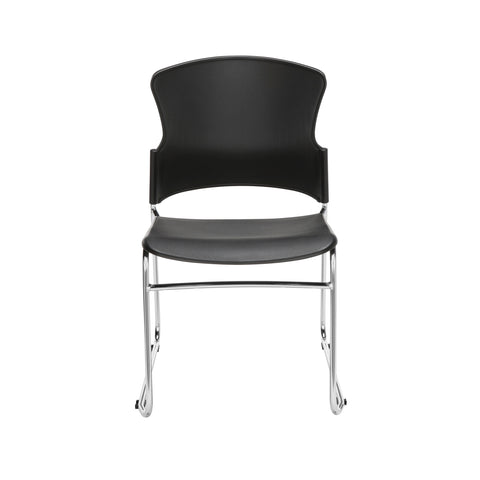 OFM Multi-Use Model 310-P Stack Chair with Plastic Seat and Back, Black ; UPC: 811588013876 ; Image 2
