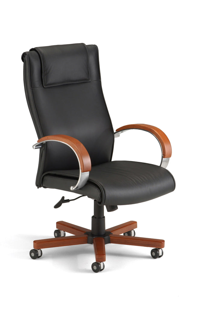 OFM Apex Series Model 560-L Leather High-Back Executive Office Chair, Black with Cherry ; UPC: 811588017034 ; Image 1