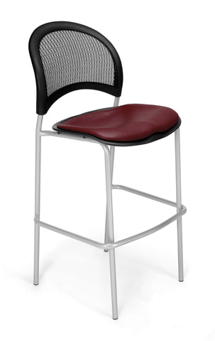 OFM 338S-VAM-603 Moon Cafe Height Vinyl Silver Chair, Wine ; UPC: 845123021699 ; Image 1