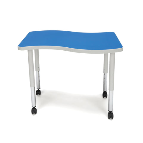 OFM Adapt Series Small Wave Student Table - 20-28? Height Adjustable Desk with Casters, Blue (WAVE-S-SLC) ; UPC: 845123096222 ; Image 2