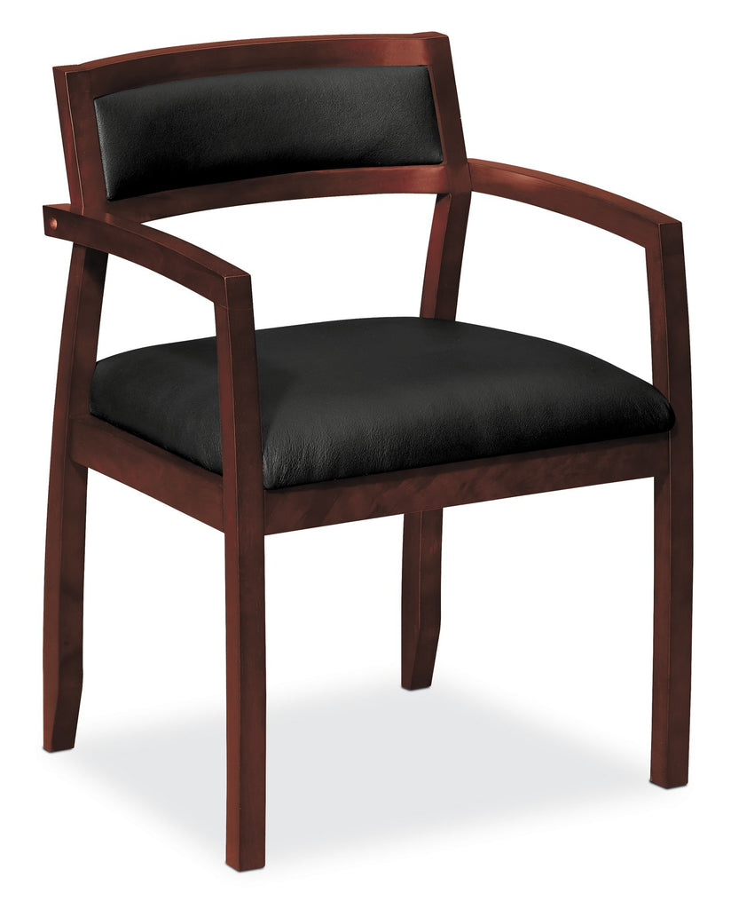 HON Topflight Wood Guest Chair -  Leather Seated Guest Chair with Arms, Office Furniture, Mahogany Finish (VL852) ; UPC: 888852157802 ; Image 1