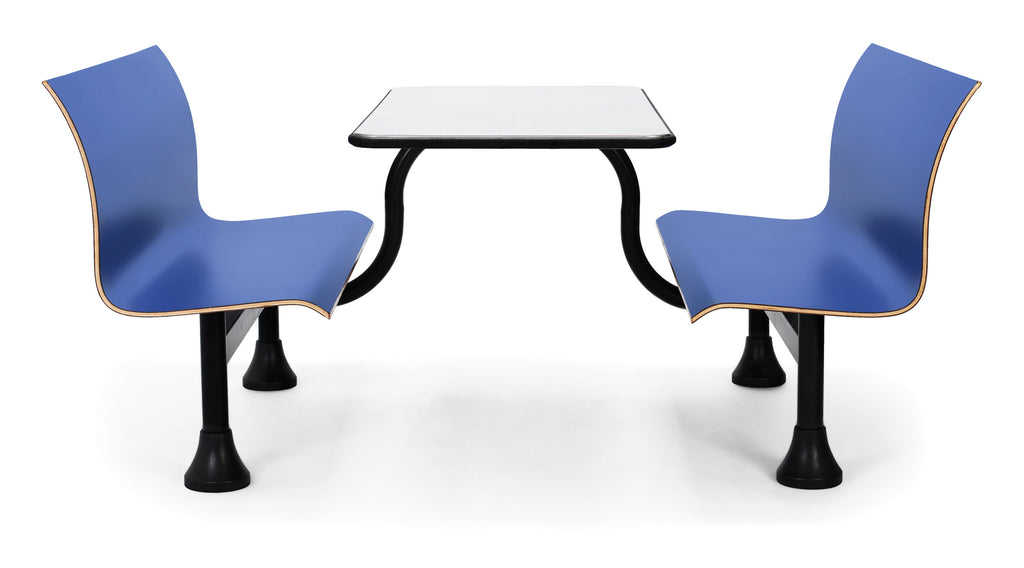 "OFM Model 1006M Retro Bench Table with Center Support, 24"" Stainless Steel Top, Blue Seats ; UPC: 845123027738 ; Image 1"