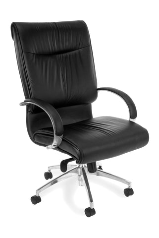OFM Sharp Series Model 510-L Leather High-Back Executive Office Chair with Knee Tilt, Black ; UPC: 845123005699 ; Image 1