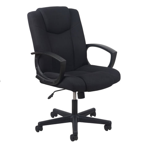 Essentials by OFM ESS-3080 Mid-Back Swivel Upholstered Task Chair, Black ; UPC: 089191013228 ; Image 1
