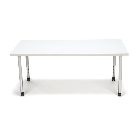 OFM Adapt Series Rectangle Student Table - 20-28? Height Adjustable Desk with Casters, White (RECT-SLC) ; UPC: 845123096659 ; Image 2