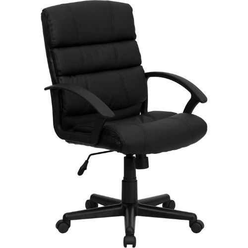 Flash Furniture Mid-Back Black Leather Swivel Task Office Chair with Arms GO1004BKLEAGG ; Image 1 ; UPC 847254009485