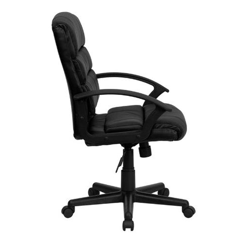 Flash Furniture Mid-Back Black Leather Swivel Task Office Chair with Arms GO1004BKLEAGG ; Image 2 ; UPC 847254009485