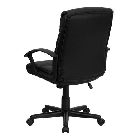 Flash Furniture Mid-Back Black Leather Swivel Task Office Chair with Arms GO1004BKLEAGG ; Image 3 ; UPC 847254009485