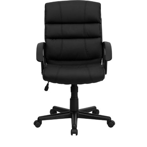 Flash Furniture Mid-Back Black Leather Swivel Task Office Chair with Arms GO1004BKLEAGG ; Image 4 ; UPC 847254009485